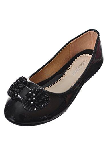 - Laura Ashley LA79128 Girls Ballerinas (Black Patent, 6)