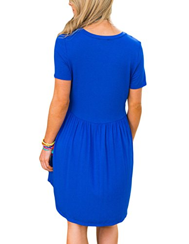 Women's Summer Sleeve Ruched Dresses Mini Casual Blue Short Dresses Chvity Solid AqdPgwg