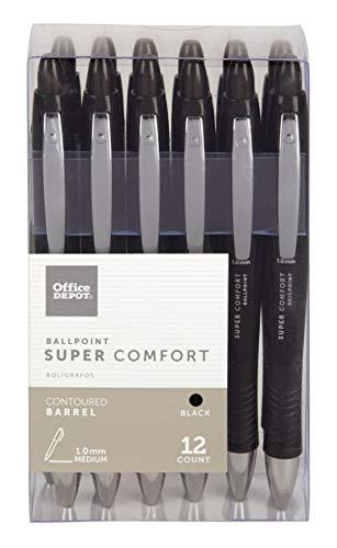 Office Depot Super Comfort Grip Retractable Ballpoint Pens, 1.0 mm, Medium Point, Black Ink, 12 pk, OD36101