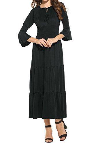 Zeagoo Women's 3/4 Bell Sleeve Elastic Waist Tiered Renaissance Pleated Maxi Dress Black S