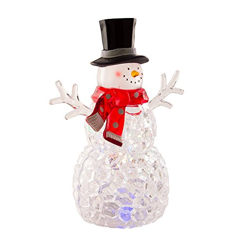 Kurt Adler 9-Inch Battery-Operated Multicolored LED Snowman Tabletop -
