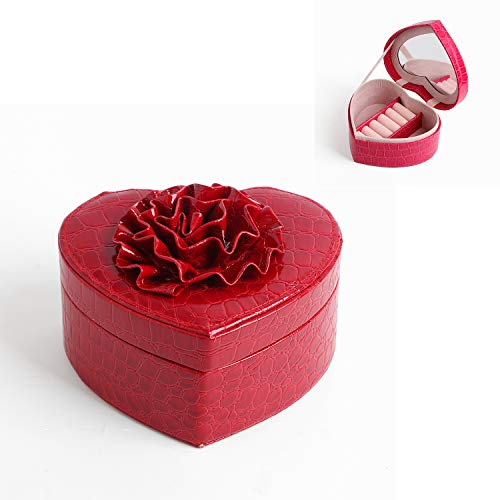 - FIND_K IND_K Heart Shaped Jewelry Box, Portable Travel Jewelry Organizer PU Leather Ring Holder Travel Jewelry Box with Mirror (Red)