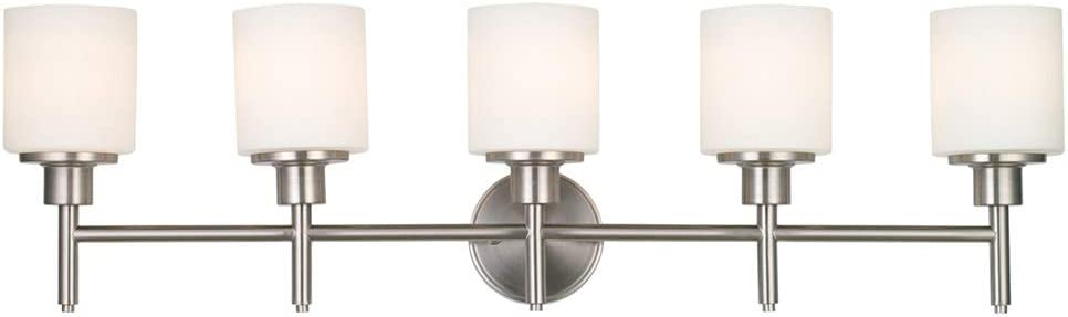 Design House 556225 Aubrey Transitional 5 Indoor Bathroom Vanity Light Dimmable Frosted Glass for Over The Mirror, Satin Nickel, 5-Light Light