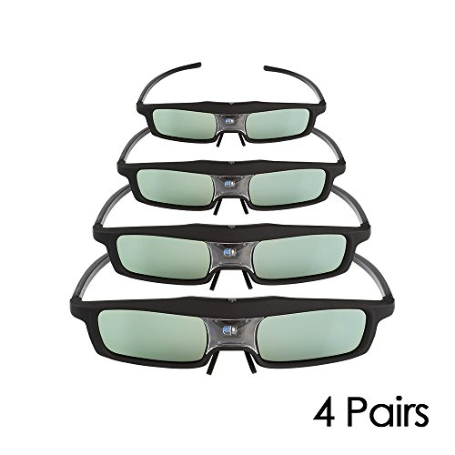 4 Pack of SainSonic CX-30 144Hz 3D Rechargeable IR Active Shutter Glasses for DLP-Link Projector & TV- BenQ, Optoma, Dell, Mitsubishi, Samsung, Acer, Vivitek, NEC, Sharp, ViewSonic etc by SainSonic
