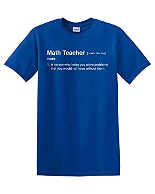 Math Teacher Definition Calculus Algebra Geometry Pi Mathematics Professor Men's Adult Graphic Tee T-Shirt Apperal Funny Humor Pun Blue