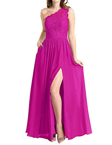 BBCbridal Women's One Shoulder Long Evening Dress Lace Chiffon Bridesmaid Dress Side Split Prom Gowns Fuchsia Size 20 Chiffon Prom Evening Gown