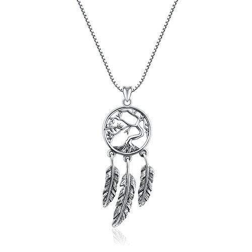 Angemiel 925 Sterling Silver Dreamcatcher Vintage Pendant Necklace Gift for Women Girl, Box Chain 18