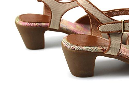 Modelisa - Sandalias Tacon Ancho Mujer Beige