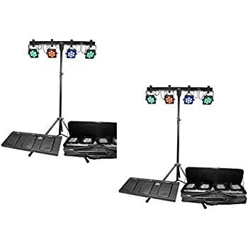 2) Chauvet DJ 4BAR TRI USB LED DMX Wash Light Bar Systems w/ Stands + Travel Bag