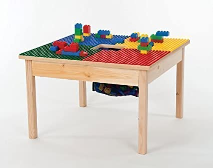 Heavy Duty Duplo Compatible Block Table 27 X27 With Built In Lego Storage Patent Made In Usa Preassembled With Sold Wood Legs Built To Last Ages 1