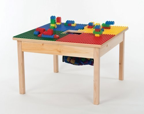 "HEAVY DUTY DUPLO COMPATIBLE BLOCK TABLE 27″X27″ with Built-in Lego Storage(patent)-""MADE IN USA!""-""PREASSEMBLED"" with Sold WOOD Legs BUILT TO LAST!-AGES 1 TO 5 For Sale"