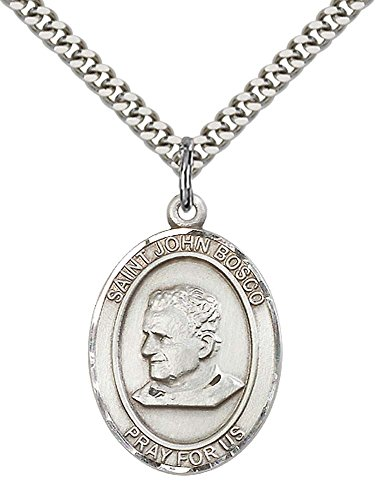 Sterling Silver St. John Bosco Pendant with 24