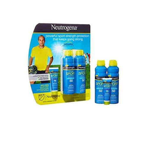 2 Neutrogena Cooldry Sport with Micromesh Sunscreen SPF 50 Spray & SPF 70 Lotion