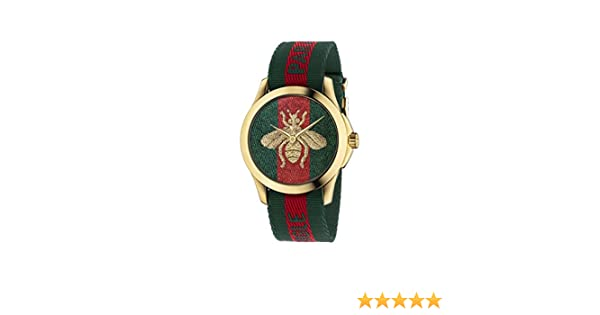 Amazon.com: Gucci Quartz Gold and Nylon Casual Watch, Color(Model: YA126487): Watches