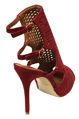 Bonnibel Marisa-4 Donna Peep Toe In Mesh Sexy A Fascia Slingback Regolabile Doppio Cinturino Alla Caviglia Sandali Con Tacco In Nabuk Vino