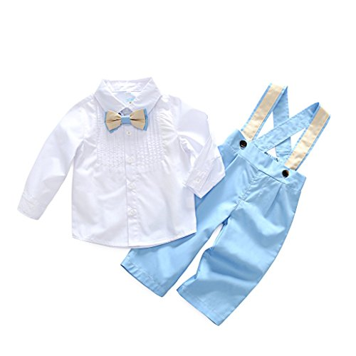 Blu Infant Bib - Kimocat Long Sleeve Bowtie Shirt Overalls Outfit Suits Toddler Infant Gentleman Pants Set (110, blu)