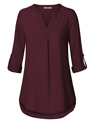 Timeson Women's Casual Chiffon V Neck Cuffed Sleeve Blouse Tops (XX-Large, Deep Red) -