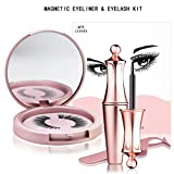 Magnetic Eyeliner and Eyelash Kit, No-glue and Reusable Magnetic False Eyelash with Mirror and Tweezers Inside