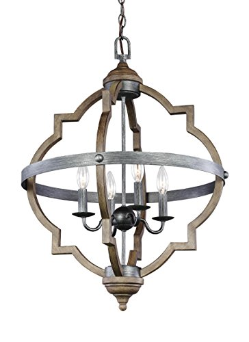 Front Street Lighting Socorro Adjustable Four-Light Hall or Foyer Pendant Fixture, Stardust Finish