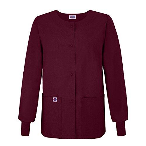 Sivvan Women's Scrub Warm-Up Jacket/Front Snaps - Round Neck - S8306 - BRG - 3X