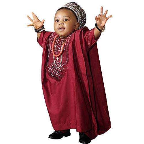 - HD Kids African Bazin Clothing Dashiki Suit 3 Pieces Agbada Outfit for Boy,Red XL