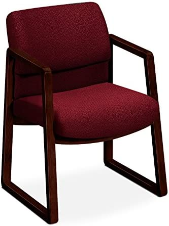 HON 2403NAB62 2400 Series Guest Arm Chair, Mahogany Finish, Burgundy Fabric