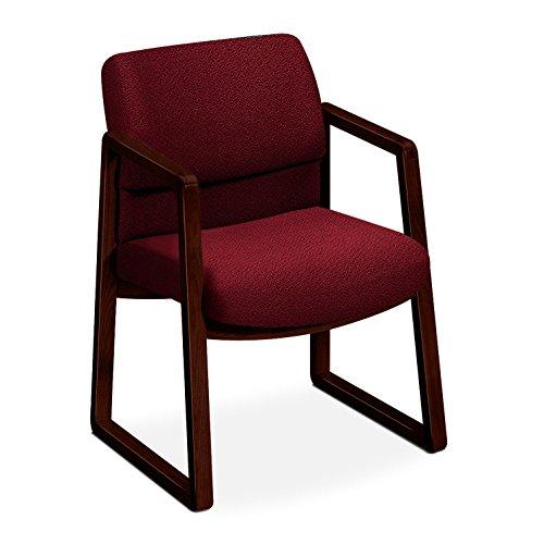 HON 2403NAB62 2400 Series Guest Arm Chair, Mahogany Finish, Burgundy (Back Sled Base Wood Chair)