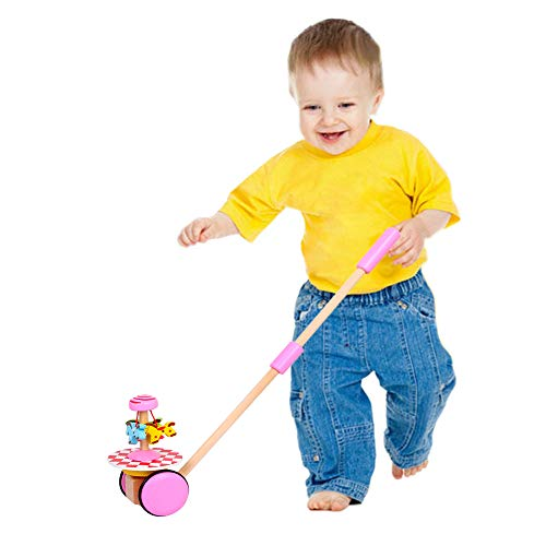 O-Toys Baby Walker Wooden Push and Pull Walking Toy Push Along Horse with Wheel for Boys Girls Infant Kids 18 Months and Up