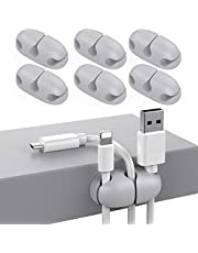 Delidigi 6 Pack Cord Organizer Desk Cable Holder Clips Strong Adhesive Wire Holder for Organizing USB Cord Wire Home Office and Car(Grey)