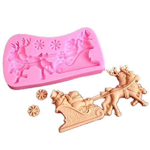 Cadeau réfléchi Cuisine DIY Moule Silicone Santa Elk Décoration Moule Chocolat Fondant Gâteau Moule De Cuisson (Aléatoire) Kolimo