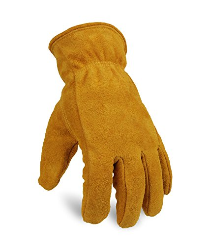OZERO Work Gloves Cold Proof Leather Winter Snow Glove Thick Thermal Imitation Lambswool - Extra Grip, Flexible and Warm for Working in Cold Weather for Men and Women (Gold,Large)