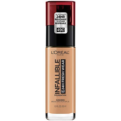 L'Oréal Paris Makeup Infallible up to 24HR Fresh Wear Liquid Longwear Foundation, Lightweight, Breathable, Matte Finish, Medium-Full Coverage, Sweat & Transfer Resistant, Golden Amber, 1 fl. oz.