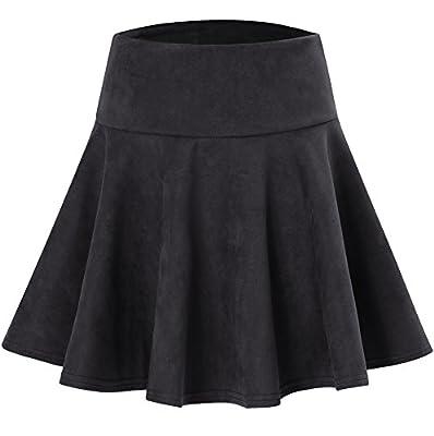 Dasbayla Women's Faux Suede Flared Skirt with Elastic Waist