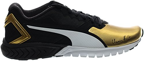PUMA Men's Ignite Dual Bolt Running Shoe, Puma Black/Gold, 7.5 M US