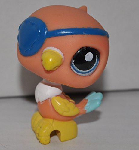 Parrot #882 (Orange, Blue Eye, Blue Eyepatch, Blue Tail, US Version) - Littlest Pet Shop (Retired) Collector Toy - LPS Collectible Replacement Single Figure - Loose (OOP Out of Package & Print)]()