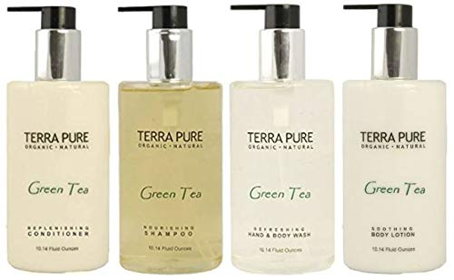 Terra Pure Green Tea Amenities Set,10.14 oz. Pumps (1 of Each) Shampoo, Conditioner, Hand/Body Wash, and Lotion