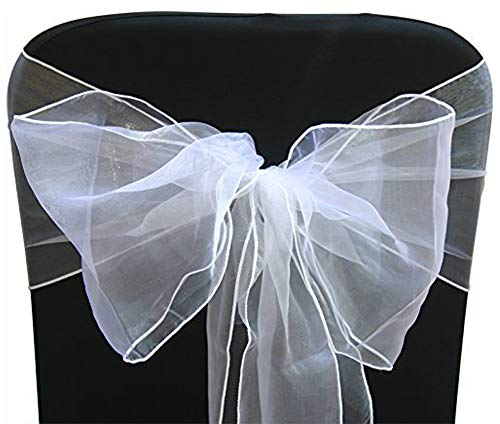 ocharzy Organza Chair Sashes Bow for Wedding Party Chair Decoration (20 pcs, White)