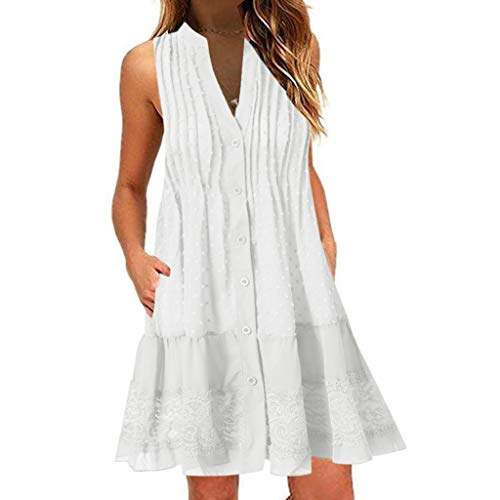 Rmeioel^ Fashion Women Mini Dress Casual Summer V-Neck Sleeveless Loose Knee Length Swing T Shirt Dresses Plus Size White ()