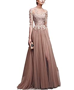 sekitoba-japan.inc Applique Tulle 3/4 Sleeves Long Prom Dresses