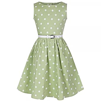 Lindy Bop Mini Audrey Childrens Tarragon Polka Dot Dress (Size ...