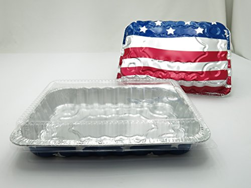 Disposable Aluminum American Flag Cake Pans w/ Clear Dome Lids 13'' x 9'' x 2'' (100 Pans and 100 Lids) by Handi-Foil USA (Image #1)