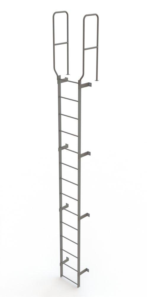 Tri-Arc WLFS0214 14-Rung Walk-Thru Uncaged Fixed Steel Ladder