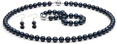 Juego de one blank Pearl TreasureBay, Natural 7-8mm negro perlas cultivadas collar con colgante en forma, juego de pulseras incluye Par de Juego de pendientes de - presentada en estuche detalle caja d