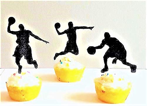 Various Fun Designs of Footballs/Gymnast/Hot Air Balloons/Christmas Cupcake Toppers/Baby Shower Toppers for Birthday/Bridal Shower/Weddings/Christmas Events/Party sets of 12… (Basketball)