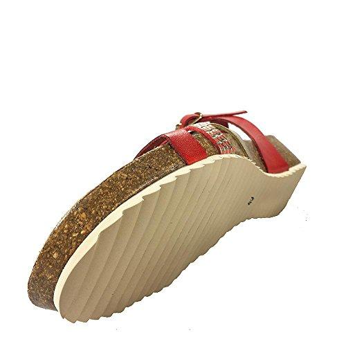 Sandalia piel roja y platino. Planta Bio. Talla 37