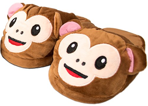 Super Cute Matching Mom and Daughter Cozy Warm Plush Happy Monkey Indoor Slip On House Slippers (Womens Small (5-6), Happy Monkey) Brown