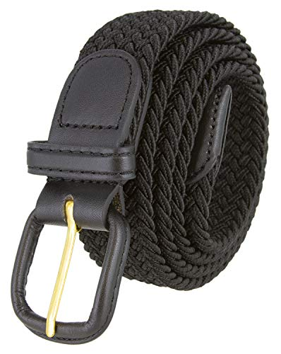 Belts.com Leather Covered Buckle Woven Elastic Stretch Belt, Black, (4XL(50-56