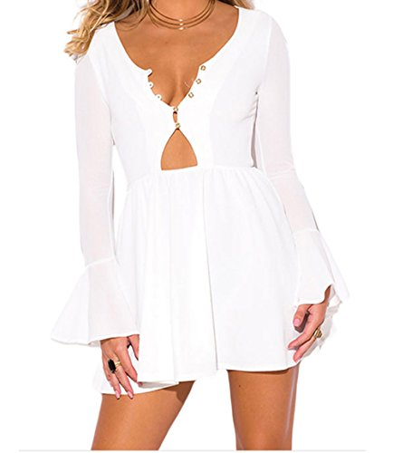 YeeATZ Ruffle Long Bell Sleeve Neck A Line Dress(White,S) (Lakers Cheerleading Outfit)