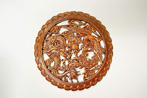 (Palm kloset Asian Chinese Red Dragon amp Phoenix Camphor Wood Carving Wall Art Home Decor)