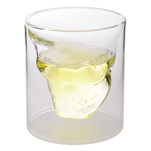 250ml Creative Crystal Skull Head Shaped Double Layer Glass Cup Juice/Beer/Wine Drinking Ware